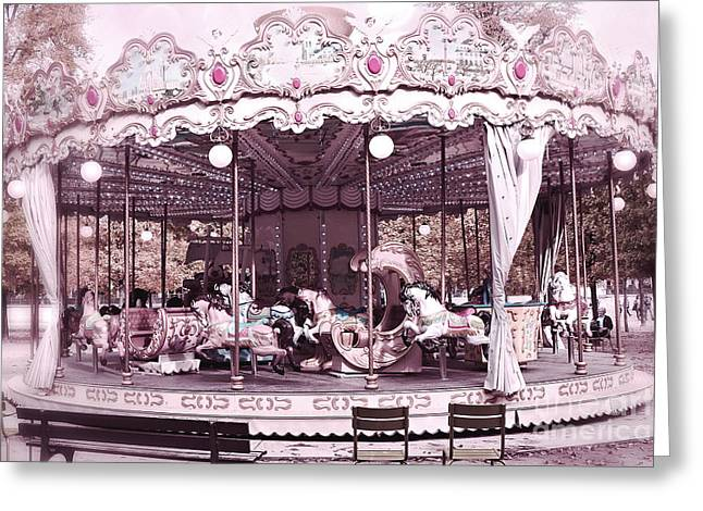 Paris Dreamy Tuileries Park Pink Carousel Merry Go Round - Paris Pink Bokeh Carousel Horses Greeting Card by Kathy Fornal