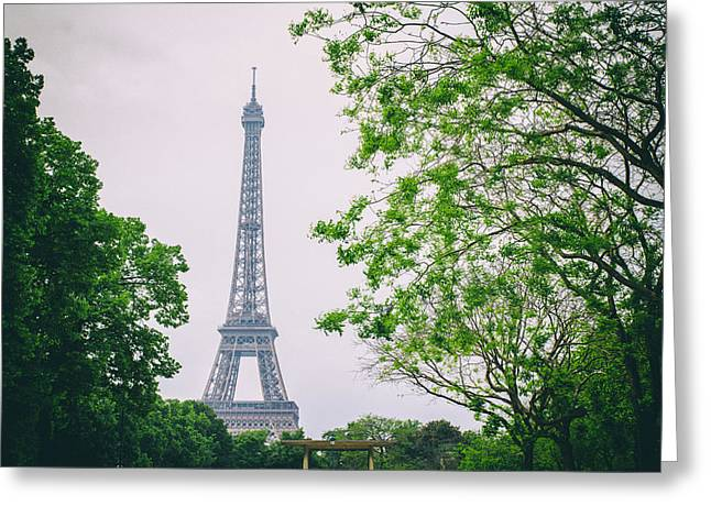Paris Eiffel Surrounded By Trees Greeting Card by Georgia Fowler