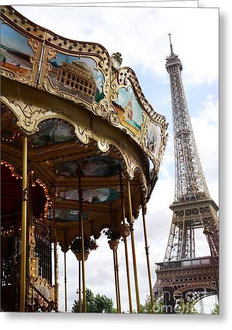 Paris Eiffel Tower Carousel Merry Go Round - Paris Carousels Champ Des Mars Eiffel Tower  Greeting Card by Kathy Fornal