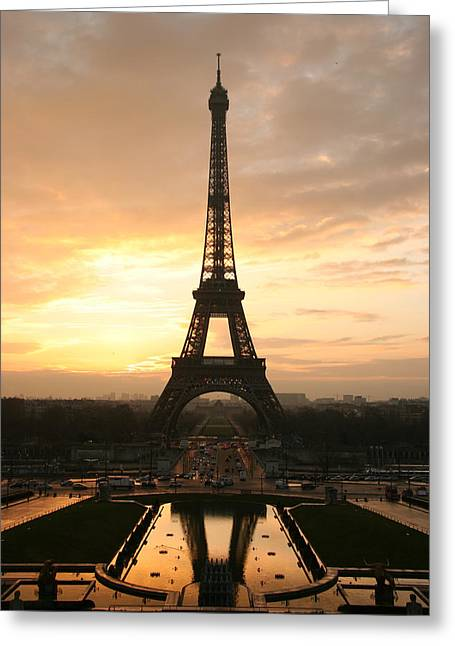 Vintage Art Greeting Cards - Paris Eiffel Tower at sunrise from the Trocadero  Greeting Card by Vintage Art