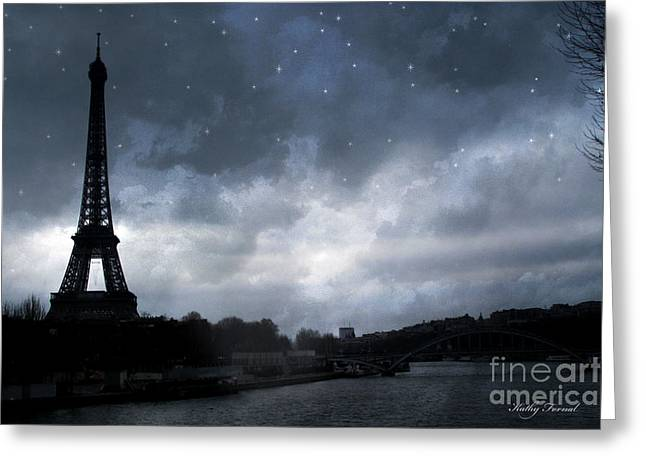 Surreal Images Greeting Cards - Paris Eiffel Tower Blue Starlit Night Sky Scene Greeting Card by Kathy Fornal