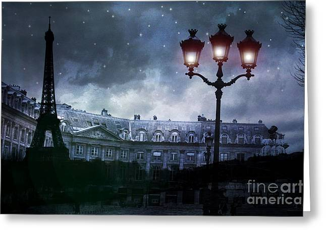 Paris Buildings Greeting Cards - Paris Eiffel Tower Blue Starry Night Street Lamp Fantasy Photo Montage  Greeting Card by Kathy Fornal