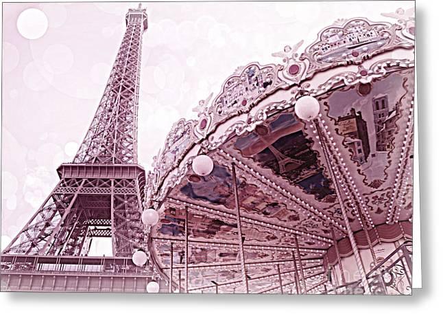 Merry-go-round Greeting Cards - Paris Eiffel Tower Carousel Merry Go Round Photos - Paris Dreamy Lavender Pink Eiffel Tower Carousel Greeting Card by Kathy Fornal