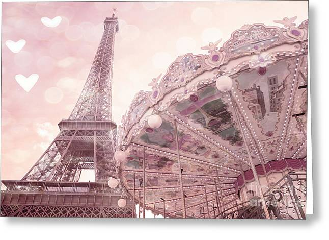 Amours Greeting Cards - Paris Eiffel Tower Carousel Merry Go Round With Hearts - Eiffel Tower Carousel Baby Girl Nursery Art Greeting Card by Kathy Fornal