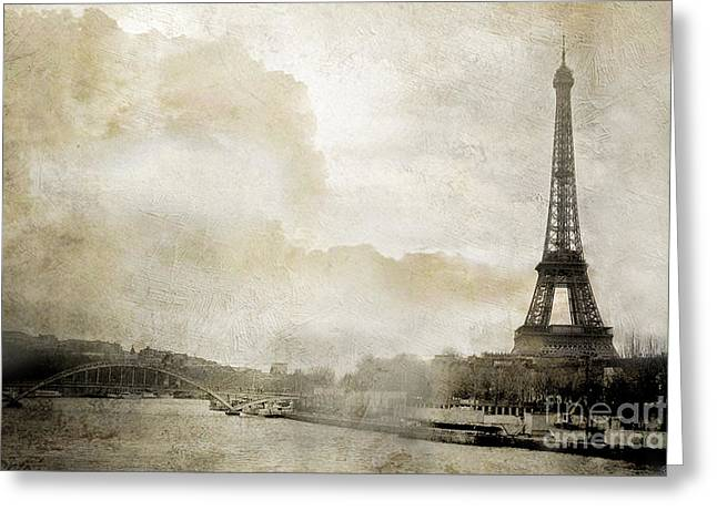 Fantasy Surreal Fine Art By Kathy Fornal Greeting Cards - Paris Eiffel Tower Dreamy Winter White Textured Watercolor Painted Landscape - Paris Winter White  Greeting Card by Kathy Fornal