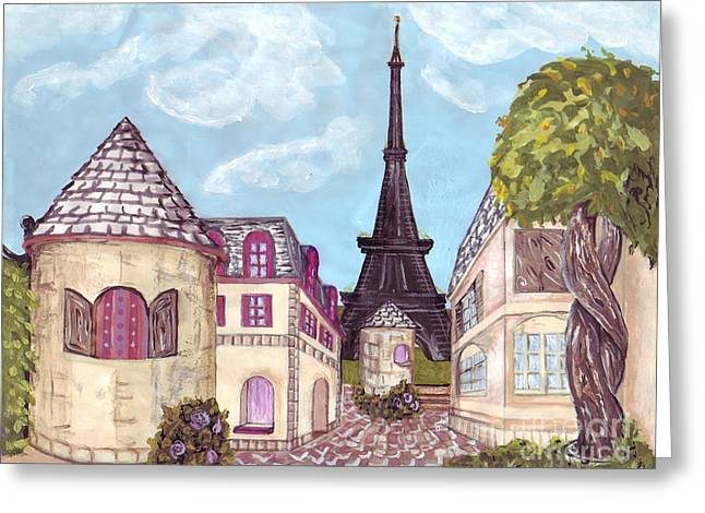 Seurat Mixed Media Greeting Cards - Paris Eiffel Tower inspired impressionist landscape Greeting Card by Kristie Hubler