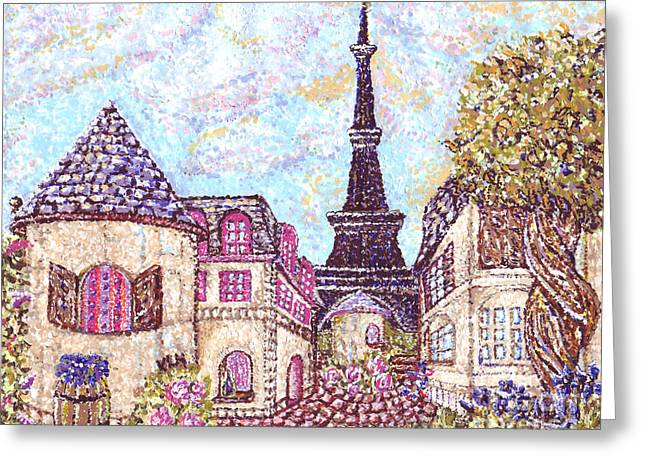 Seurat Mixed Media Greeting Cards - Paris Eiffel Tower Skyline inspired pointillist landscape Greeting Card by Kristie Hubler