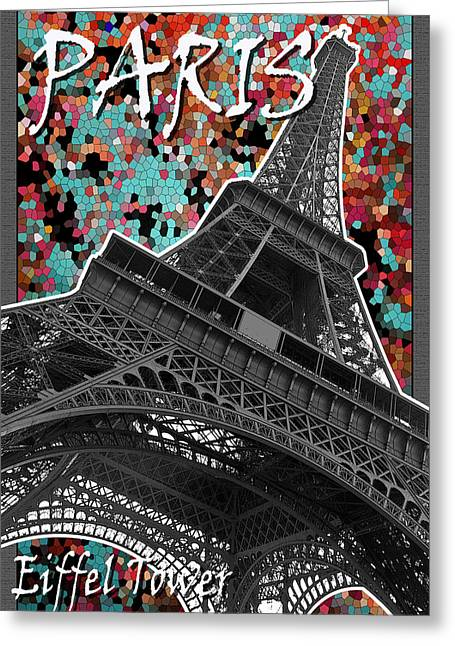 Black And White Images Mixed Media Greeting Cards - Paris - Eiffel Tower Greeting Card by Mark Compton