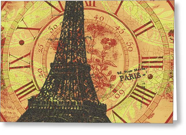 Reflection Harvest Mixed Media Greeting Cards - Paris Eiffel tower mixed clock wall Greeting Card by Art World
