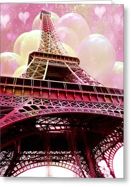 Balloon Art Print Greeting Cards - Paris Eiffel Tower Pink and Yellow With Hearts and Balloons - Paris Eiffel Tower Kids Room Art  Greeting Card by Kathy Fornal