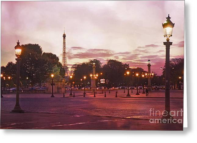Paris Eiffel Tower Place De La Concorde Evening Pink Sunset Lanterns - Paris Pink Lantern Lights Greeting Card by Kathy Fornal