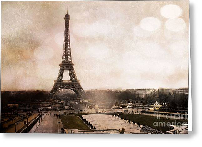 Painted In Paris Greeting Cards - Paris Eiffel Tower Sepia Bokeh Art - Paris Dreamy Sepia Eiffel Tower Landscape Greeting Card by Kathy Fornal