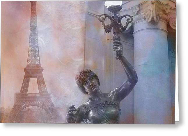 Paris In Blue Greeting Cards - Paris Eiffel Tower Surreal Fantasy Montage Greeting Card by Kathy Fornal