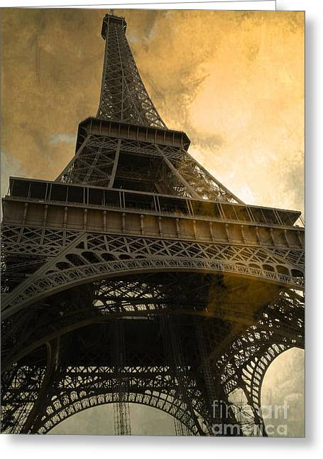 Sunset Photography Prints Greeting Cards - Paris Eiffel Tower Surreal Looking Up from Champs Des Mars - Surreal Eiffel Tower Sunset Sepia Sky Greeting Card by Kathy Fornal