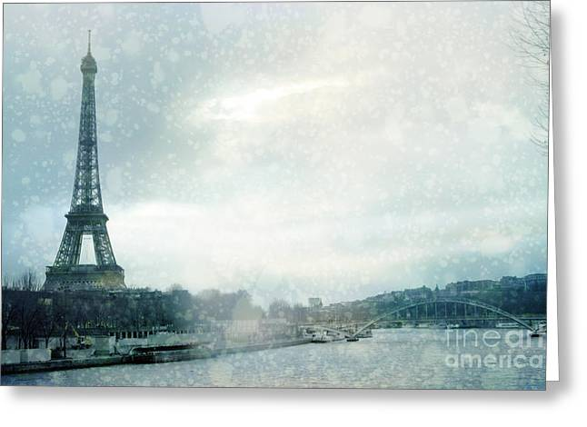 Paris In Blue Greeting Cards - Paris Eiffel Tower Winter Snow - Paris In Winter - Paris Eiffel Tower Winter Fog Landscape Greeting Card by Kathy Fornal