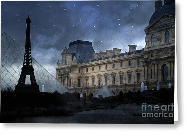 Fantasy Art Greeting Cards - Paris Eiffel Tower With Louvre Museum Montage Photo Painting - Paris Architecture and Landmarks  Greeting Card by Kathy Fornal