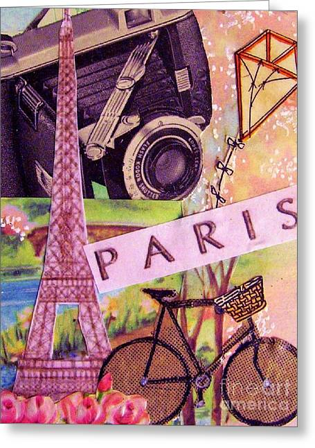 Kites Mixed Media Greeting Cards - Paris  Greeting Card by Eloise Schneider