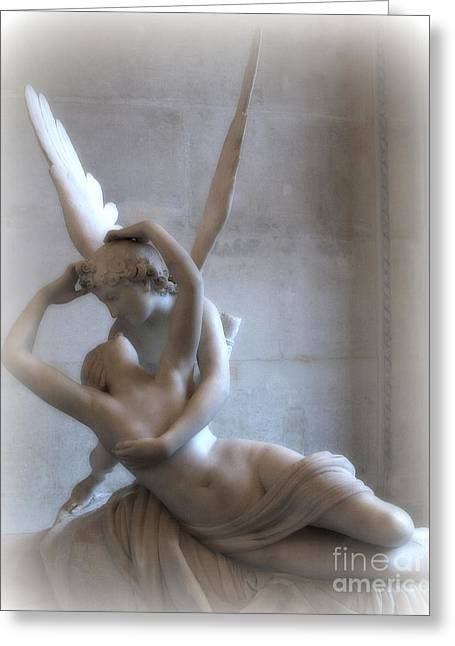 Angel Art Greeting Cards - Paris Eros and Psyche Angels Louvre Museum - Paris Angel Art - Paris Romantic Eros and Psyche Art  Greeting Card by Kathy Fornal