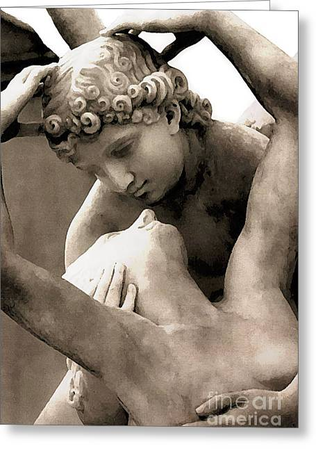 Art Of Lovers Greeting Cards - Paris Eros and Psyche Angels Lovers Sculpture Statue Greeting Card by Kathy Fornal