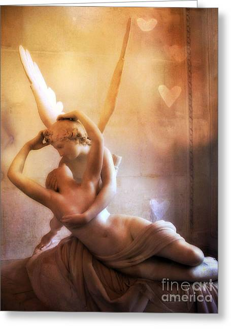 Art Of Lovers Greeting Cards - Paris Eros and Psyche Louvre Museum- Musee du Louvre Angel Sculpture - Paris Angel Art Sculptures Greeting Card by Kathy Fornal