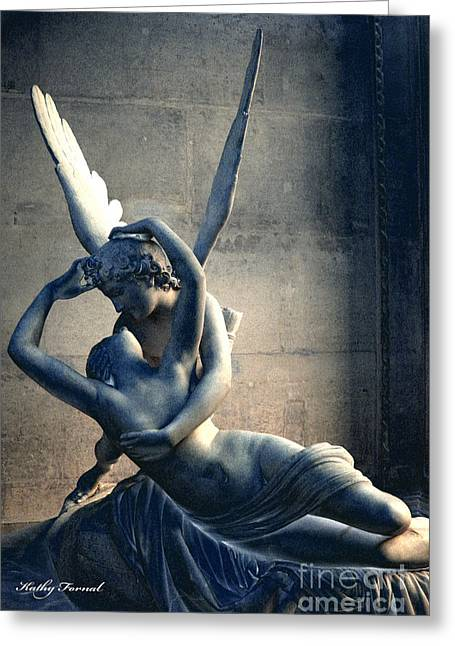 Art Of Lovers Greeting Cards - Paris Eros and Psyche Romantic Lovers - Paris In Love Eros and Psyche Louve Sculpture  Greeting Card by Kathy Fornal