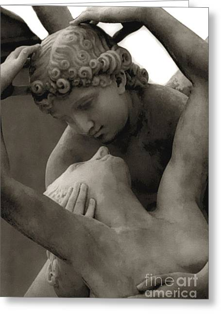 Art Of Lovers Greeting Cards - Paris - Eros and Psyche Romantic Sculpture Greeting Card by Kathy Fornal