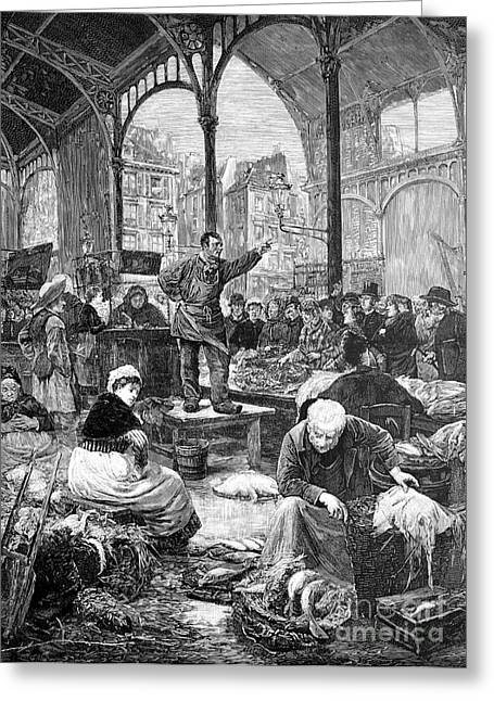 European Artwork Greeting Cards - Paris Fish Market, 1880s Greeting Card by Bildagentur-online