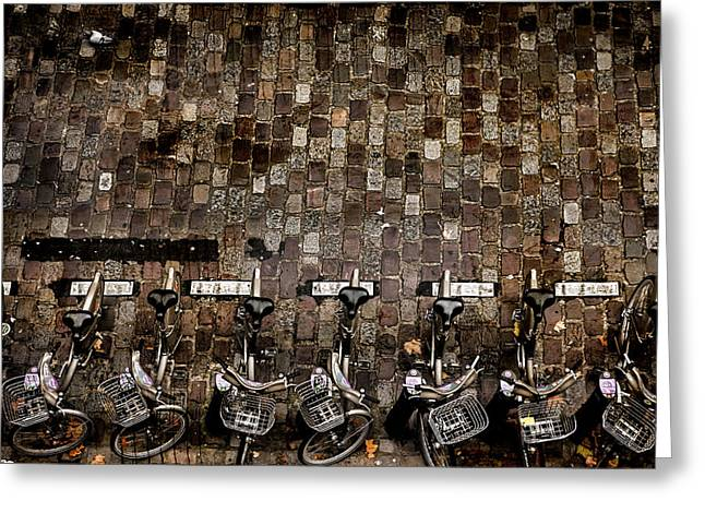 Streetview Greeting Cards - Paris Flight Greeting Card by Evie Carrier