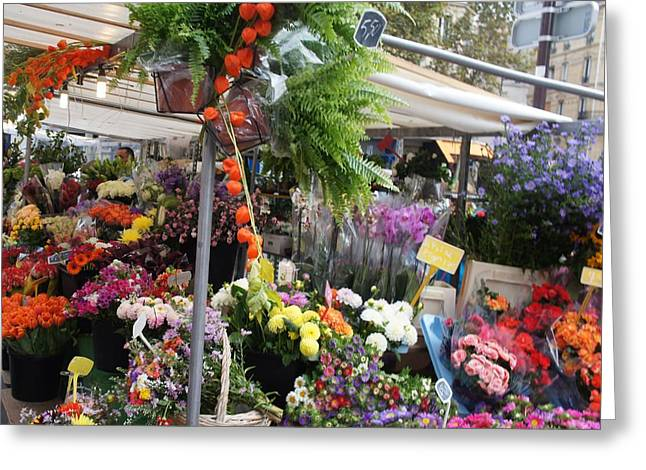 Paris Flower Market Greeting Card by Kristine Bogdanovich