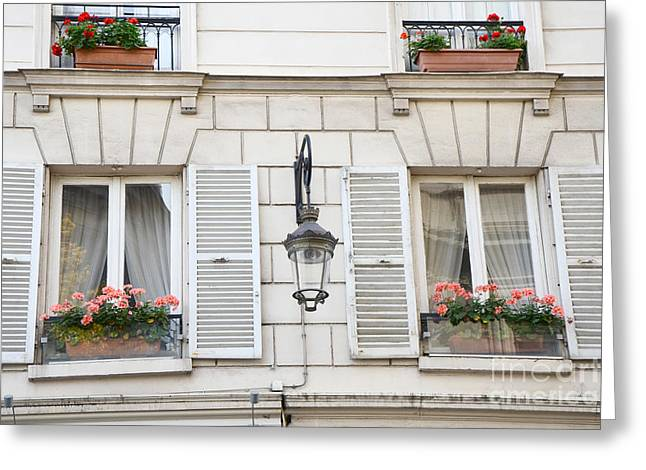 Paris Flower Window Boxes - Paris Windows Architecture - French Floral Window Boxes  Greeting Card by Kathy Fornal