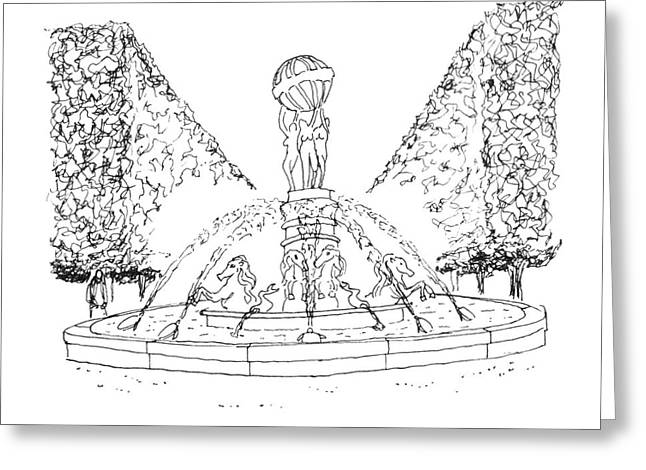 Stepping Stones Drawings Greeting Cards - Paris fountain Greeting Card by Steven Tomadakis