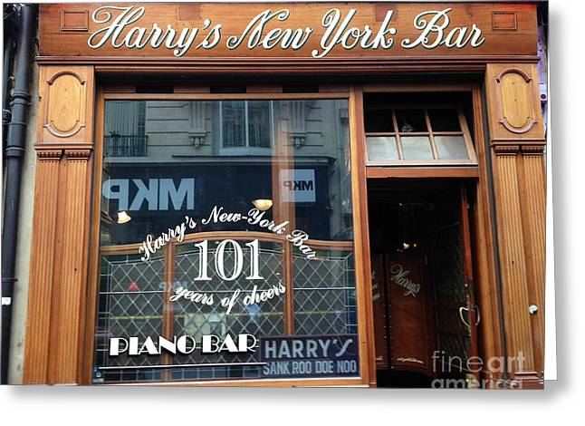 Paris France Bar - Harry's New York Bar - Paris Cafe Pub Bar  Greeting Card by Kathy Fornal