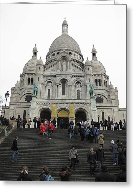 Roman Photographs Greeting Cards - Paris France - Basilica of the Sacred Heart - Sacre Coeur - 12126 Greeting Card by DC Photographer