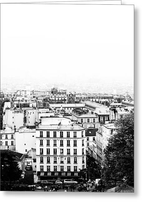 Comtemporary Art Greeting Cards - Paris France from High Mono Greeting Card by Nomad Art And  Design