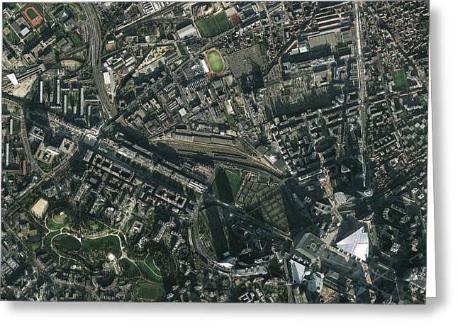 Satellite Image Greeting Cards - Paris, France, satellite image Greeting Card by Science Photo Library