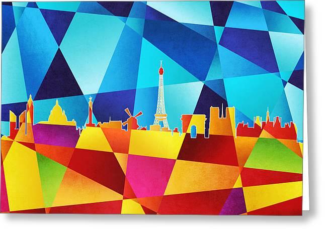Geometric Greeting Cards - Paris France Skyline Greeting Card by Michael Tompsett