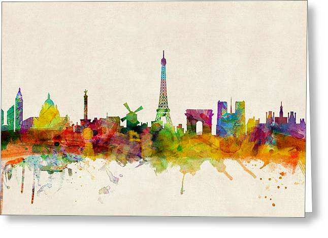 Eiffel Tower Greeting Cards - Paris France Skyline Panoramic Greeting Card by Michael Tompsett
