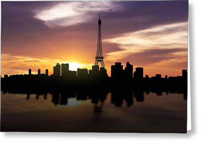 Arc De Triomphe Greeting Cards - Paris France Sunset Skyline  Greeting Card by Aged Pixel