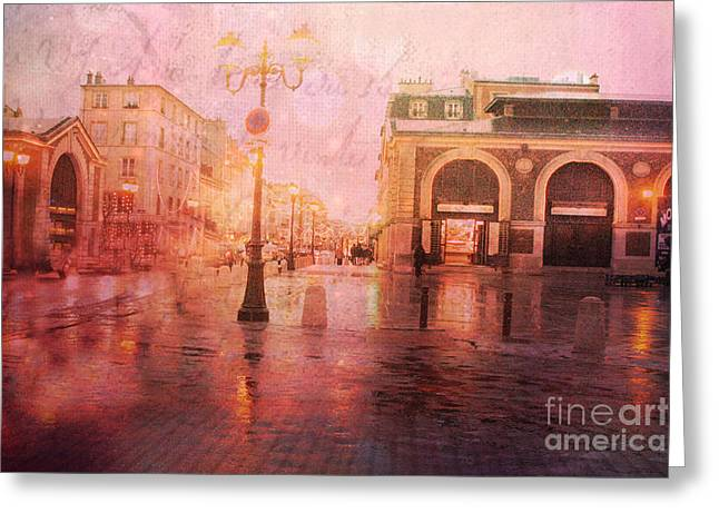 Night Scenes Greeting Cards - Versailles France Surreal Rainy Night Street Scene - French Script Textured Print Greeting Card by Kathy Fornal