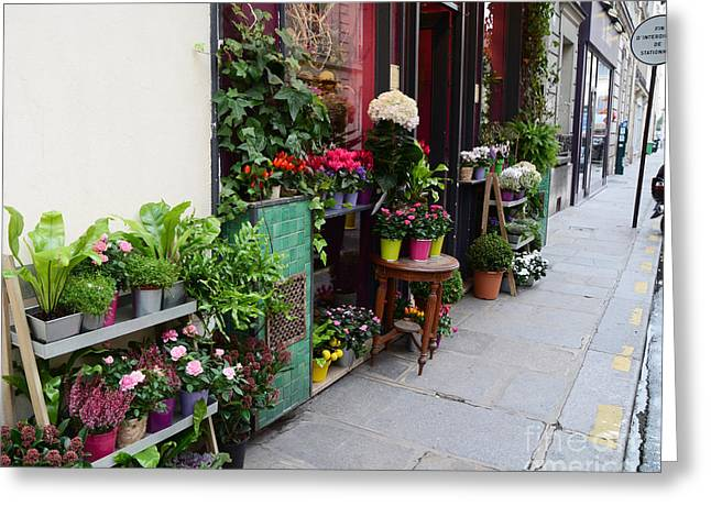 French Market Greeting Cards - Paris French Flower Market Shop - Paris French Market Sidewalk Flower Shop Greeting Card by Kathy Fornal