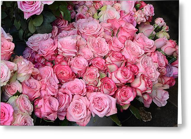 French Market Greeting Cards - Paris French Market Pink Roses - Paris Romantic Pink Shabby Chic Roses  Greeting Card by Kathy Fornal
