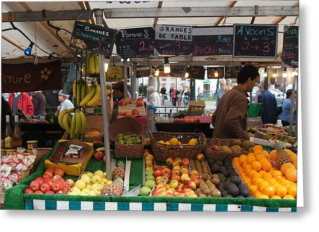 Paris Fruit Market Greeting Card by Kristine Bogdanovich