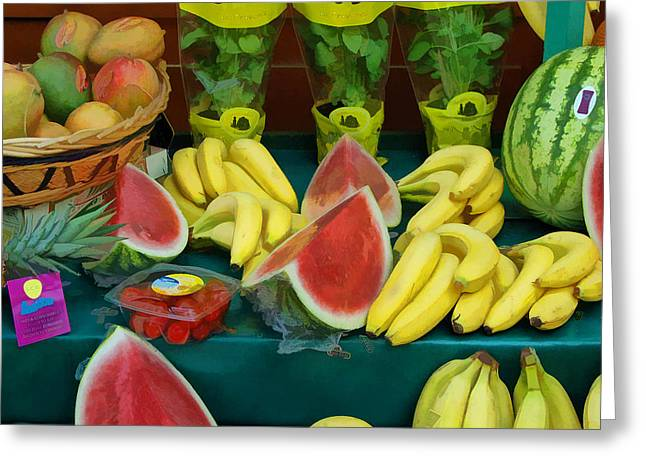 Farm Stand Greeting Cards - Paris Fruit Stand Greeting Card by Allen Beatty