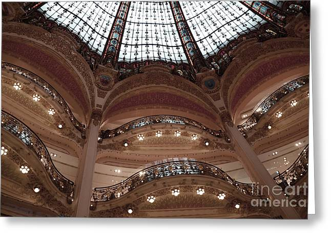 Art Nouveau Greeting Cards - Paris Galeries Lafayette Stained Glass Ceiling Dome - Paris Architecture Glass Ceiling Dome Balcony Greeting Card by Kathy Fornal