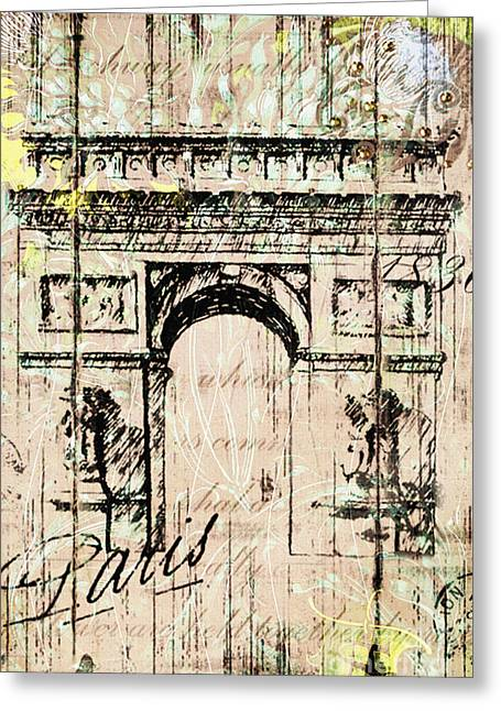 Winter Road Scenes Mixed Media Greeting Cards - Paris Gate Vintage Poster Greeting Card by Art World