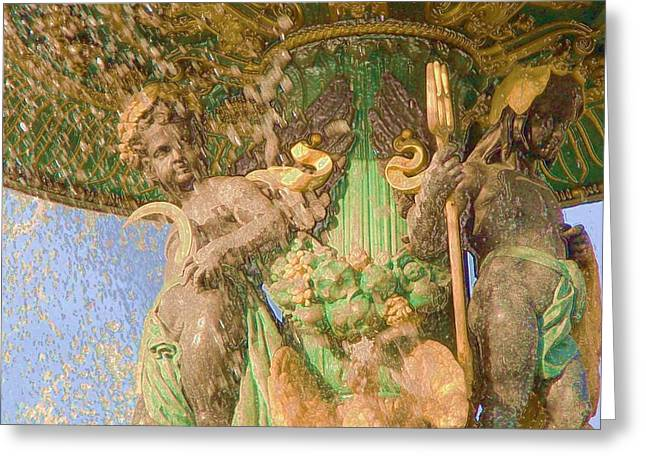 Angel Delight Greeting Cards - Paris Gold Angels and their Weapons Renaissance Era Greeting Card by Bissera Yaneva