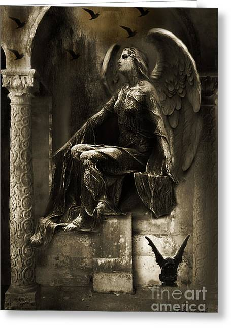 Angel Art Greeting Cards - Paris Gothic Angel Gargoyle and Ravens Greeting Card by Kathy Fornal