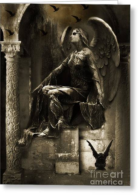 Dark Angels Greeting Cards - Surreal Paris Gothic Angel Gargoyle Ravens Fantasy Art Greeting Card by Kathy Fornal