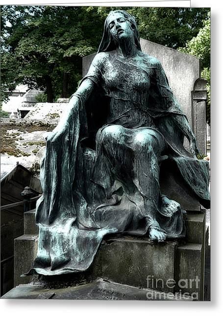 Haunting Greeting Cards - Paris Gothic Female Mourner - Montmartre Cemetery Female Sculpture - Mother Looking Over Son Greeting Card by Kathy Fornal