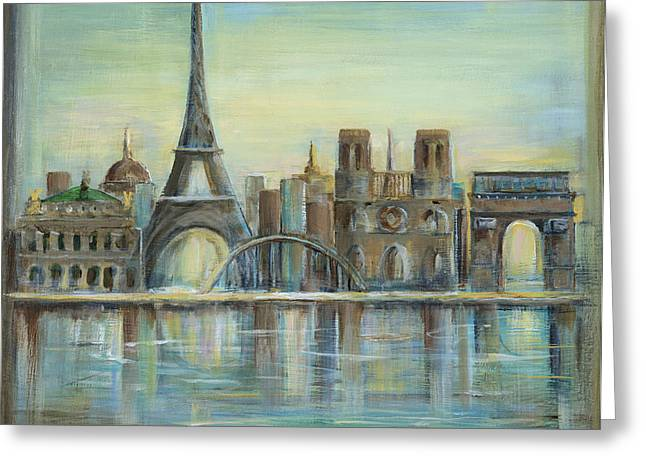 Paris In Blue Greeting Cards - Paris Highlights Greeting Card by Marilyn Dunlap